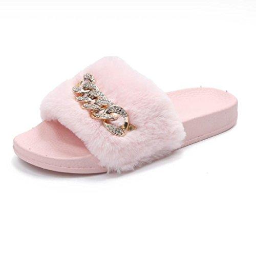 Pantoletten Damen Schuhe, SOMESUN Slip On Sliders Flauschige Faux Pelz Flache Slipper Flip Flop Sandale (39, Rosa) (Faux-wildleder-flip-flop-sandale)