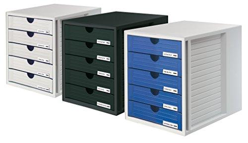 HAN 1450-13, Schubladenbox Systembox, Innovatives, attraktives Design mit 5 geschlossenen Schubladen, schwarz - 2