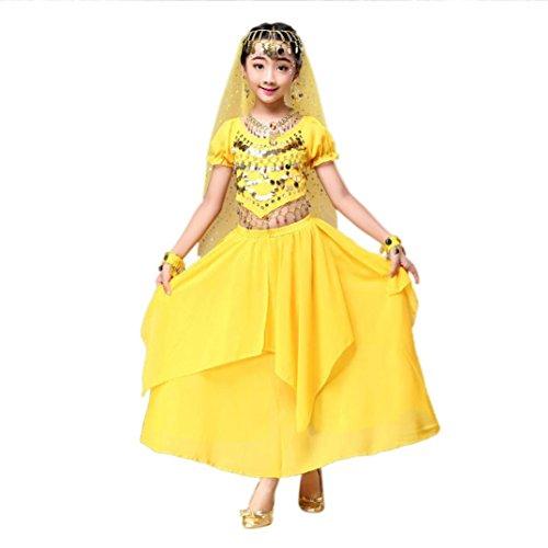 Hunpta Kinder Mädchen Bauchtanz Outfit Kostüm Indien Dance Kleidung Top + Rock (120~135cm, Gelb)