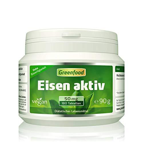 Eisen aktiv, 50 mg, extra hochdosiert, 180 Tabletten, hohe Verfügbarkeit, hervorragend verträglich, vegan - gegen Eisenmangel. OHNE künstliche Zusätze. Ohne Gentechnik. -