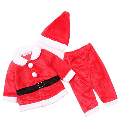 Lee Little Angel Weihnachten Flanell Long Sleeve Schöne Baby Kids Dress Up Santa Kostüm 3 Stück Set (80, ()