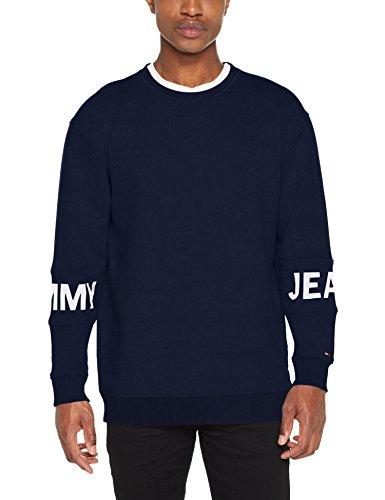 Tommy Jeans Herren Sweatshirt TJM Essential Banded Logo Crew, Blau (Black Iris 002), X-Large