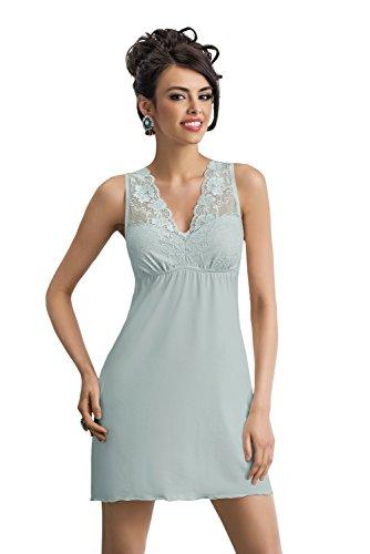 Selente edles Damen Negligee/Nachthemd mit eleganter Spitzenverzierung und zusätzlicher exklusiver Satin-Augenbinde Made in EU (38 (M), Mint) -