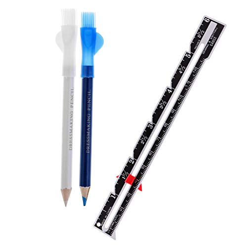 P Prettyia Schneiderkreide Stift Bleistift mit Metall Lineal Schneiderlineal Zum Nähen Schneiderei DIY Handwerk