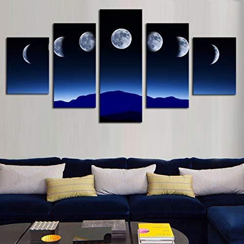 Leinwand Gemälde 5 Panels Sky Moon Wandkunst Bild Druck Auf Leinwand Malerei Für Wohnkultur -