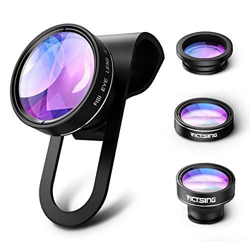 VICTSING 3 in 1 Clip On Fisheye Fischauge Objektiv, smartphone linsen set(180°Fisheye Objektiv, 0.65X Weitwinkelobjektiv, 10X ...