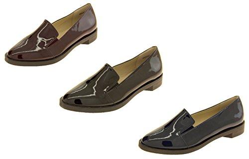 Footwear Studio Femmes Betsy Élégant Flat Faux Cuir Patentes Chaussures