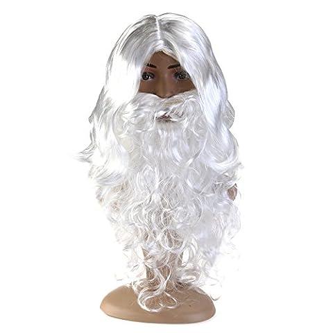 ROSENICE Santa Perücke und Bart Set Weihnachten Vater Claus Weihnachtszauber weiße Zauberer