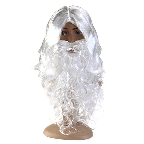 BESPORTBLE Deluxe White Santa Kostüm Kostüm Wizard Perücke und Bart Set Weihnachten - Deluxe Kostüm Bart Und Perücke Set