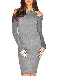 51f02444c2592d Terryfy Damen Knielang Kleid Elegant Figurbetont Cold Shoulder Langarm Kurz  Dress mit Perlen