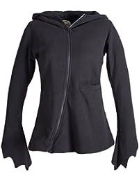 Vishes - Alternative Bekleidung - Leichte, asymmetrische Eco Fleecejacke mit schrägem Reißverschluss für den Übergang