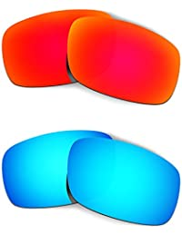 Hkuco Plus Mens Replacement Lenses For Oakley Crankshaft - 2 pair Combo Pack