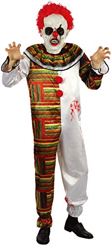 (U LOOK UGLY TODAY Halloween KostümHerren Clown Horror Hofnarr Creepy Jumpsuit Karneval Verkleidung mit Maske- M/L - 56)