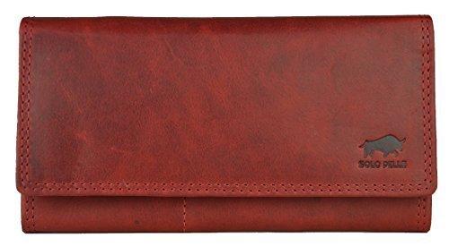 """Solo Pelle Damen Portemonnaie groß aus echt Leder I Geldbeutel für Frauen """"Wien"""" lang mit vielen Fächern I Portmonee I Geldbörse I Ledergeldbeutel Vintage Rot"""