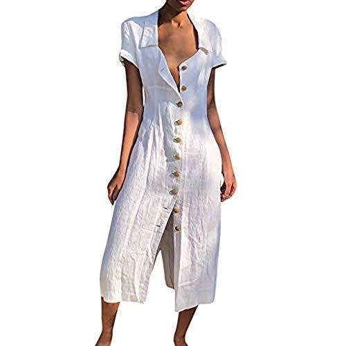 URIBAKY Leinenkleider Damen Lange Kleid,beiläufige T-Shirtkleid,Kurzarm Sommerkleid Feste beiläufige Knopf-Kleid-Hülsen-lose (EU 44(Tag XXXL), Weiß-1)