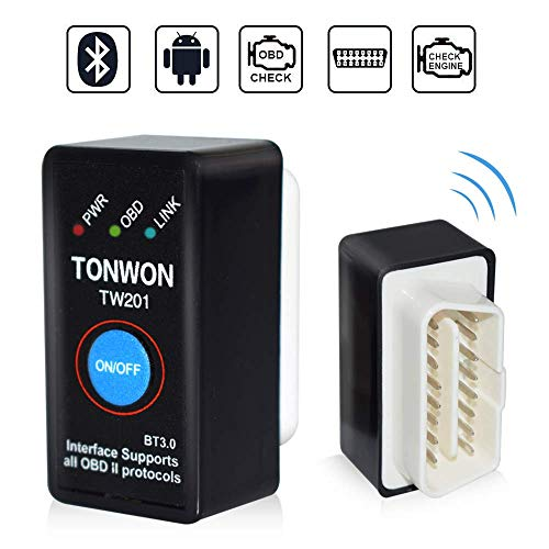 TONWON OBD2 Bluetooth, Car Code Reader ELM327 OBDII Interfaccia V2.1 Check Engine Scan Tool per Android/Window