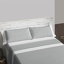 Burrito Blanco Juego de Sábanas 238 para Cama de Matrimonio de 150x190 cm hasta 150x200 cm Estampado de Lunares, Color Gris