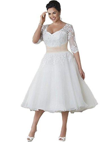 HUINI Brautkleider Große Größen Spitze Tüll A Linie Wadenlang Hochzeitskleider Applikationen...