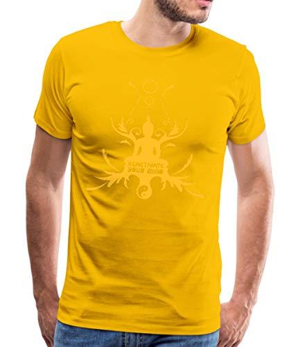 Buddha Buddhismus Meditation Hinduismus Thailand Männer Premium T-Shirt, M, Sonnengelb