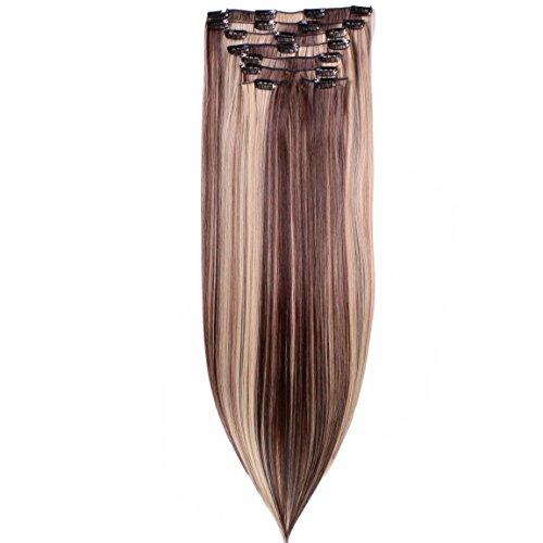 hair2heart Clip in Extensions, 8 tlg. 130g Set, 60cm - glatt - #N-4/22