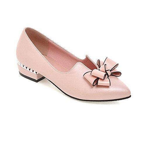AgooLar Damen Rein Pu Leder Niedriger Absatz Spitz Zehe Pumps Schuhe mit Schleife Pink