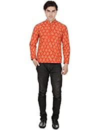 Beautiful Straight Printed Cotton Orange Men's Short Kurta from the house of Aprique Fab