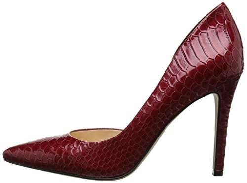 Kolnoo 100mm Damen D'Orsay Pumps Stiletto Schlangendruck Two-Pieces Spitze Zehen Damenschuhe Winered