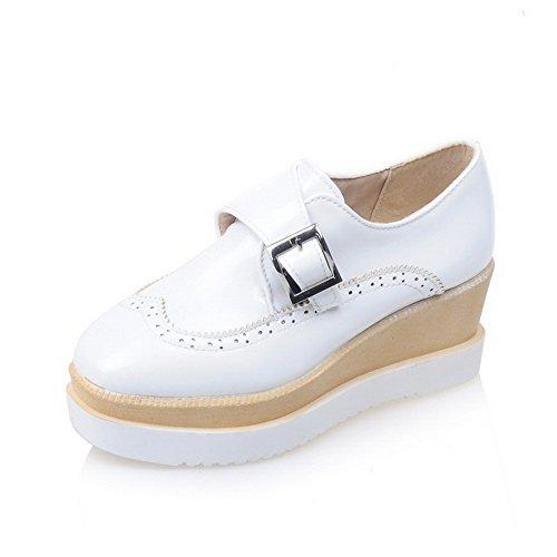 65b023958e7179 Odomolor Damen Rein PU Leder Mittler Absatz Quadratisch Zehe Schnalle Pumps  Schuhe