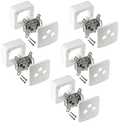Poppstar 1008702 5X 3-Loch Antennendose für SAT und Kabel Anschluss weiß