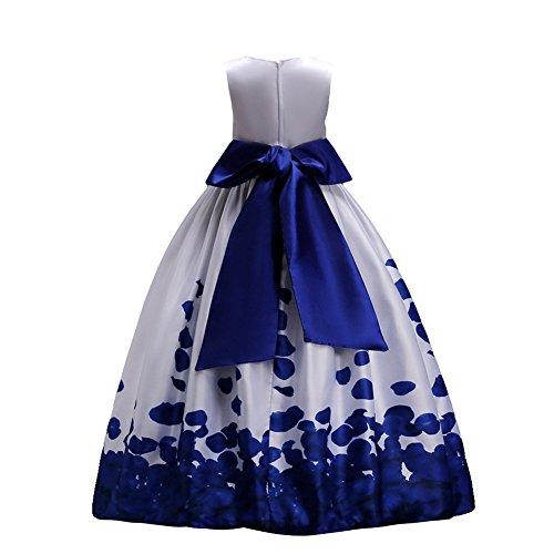 6c70a23ef95a Fiore ragazze estivo abito principessa pageant vestito da cerimonia per la  damigella floreale matrimonio carnevale blu