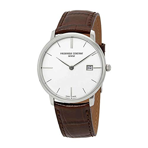 Frederique Constant Slimline White Dial Leather Strap Men's Watch FC220bRS5S6