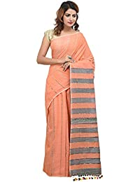 THE WEAVE TRAVELLER HANDLOOM KHADI KHESH SAREE WITH BLOUSE (Orange, TWT_KHESH_ORG_151)