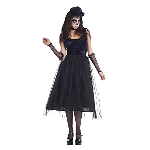 De Muertos Los Frau Kostüm Dia (Braut des Todes Kostüm Damen zum Tag der Toten Día de Muertos schwarz -)
