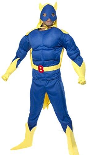 en Kostüm Bananaman mit Top, Hose, Umhang, Maske, Handschuhe und Überziehstiefel, XL, Blau-gelb (Bananaman Kostüm)