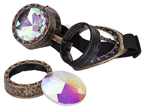 KOLCY Kaleidoskop Steampunk Brille Silber Rotkupfer Messing Diamant Schmuck Partybrille Runde Schutzbrille Einstellbar Sonnenbrille Accessoire Retro Zierat Metall Stil Gotisch COOL ()