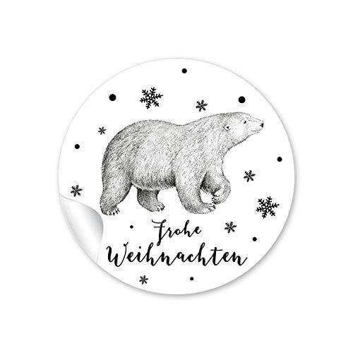 achtssticker zu Weihnachten in SCHWARZ WEIß mit Eisbär •