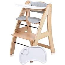 Baby Kinder Hochstuhl Kinderstuhl Babystuhl Holz Holzstuhl Treppenhochstuhl Stuhl extra Tablett weiss oder natur