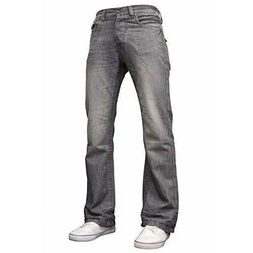 Enzo Mens Neue A42 Designer Bootcut Jeans Grau Waschen Jeans W32- L32 (Plain Polyester Front Pant)