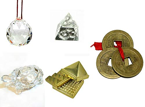 Kriwin Fengshui/Vastu Combo of Crystal Ball, Tortoise, Glass and Metal Pyramid with 3 Lucky Coins (Multicolour)