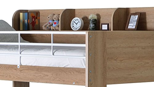 Happy Beds Domino Oak Wooden and Metal Kids Storage Bunk Bed with 2x Pocket Sprung Mattress 3' Single 90 x 190 cm