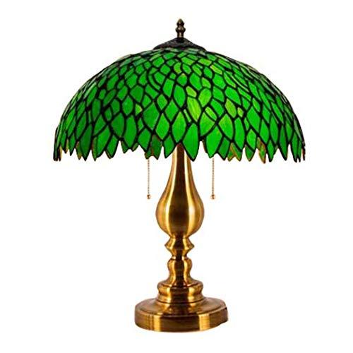 BDHBB Tiffany-Art-Tischlampe, grünes Blatt-Retro luxuriöse romantische und warme Buntglas-Lampenschirme, Nachtlampe-Nachttischlampe,4 -