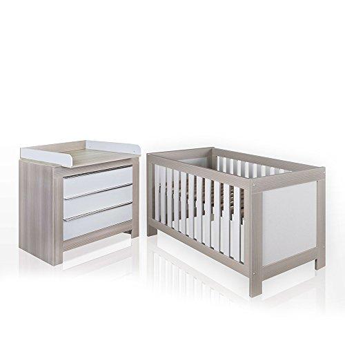 Preisvergleich Produktbild Felix Babyzimmer Wickelkommode Babybett Kleiderschrank Weiß oder Akaziengrau (Akaziengrau, Bett, Wickelkommode)