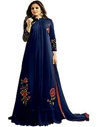 DarkBlue Embroidered Georgette Long Anarkali Salwar Suit