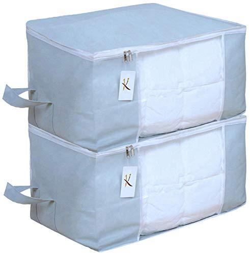 Kuber Industries 2 Piece Non Woven Underbed Storage Organiser Set, Grey (Underbedorga05)