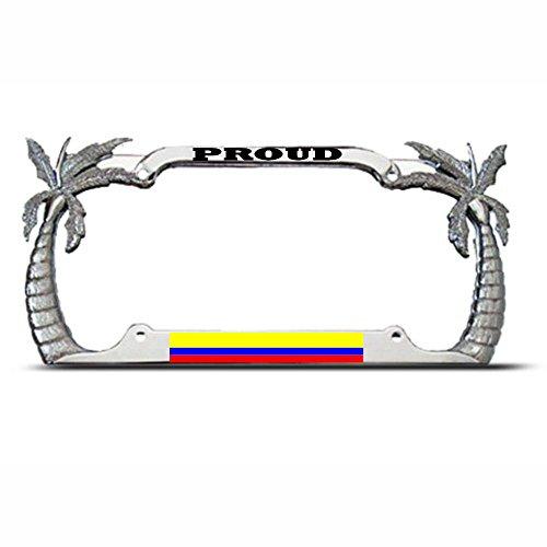 Moon Proud Kolumbianische Palme Nummernschild Rahmen Kolumbien Flagge Pride Tag Bordüre Perfekt für Herren Frauen Auto Garadge Dekor (Kennzeichenhalter Adler)