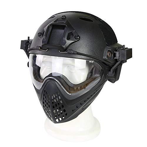 Tclothing Schutzbrille Sportbrille Draussen Taktische Helme Schutzbrille Mit Stahlgittermaskenhelm Airsoft Paintball Schutzhelme CS Game Set Schutzausrüstung Wechselgläser Wandern