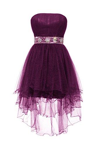 YiYaDawn Kurzes Abendkleid Ballkleid Vokuhila Kleid mit Schnürung für Damen Purpur