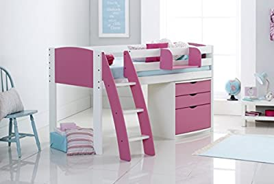 Scallywag Kids Children's Mid Sleeper Cabin Bed Shorty Including 3 Drawer Chest & Hook On Shelf - Curved Ladder - Made In The UK.