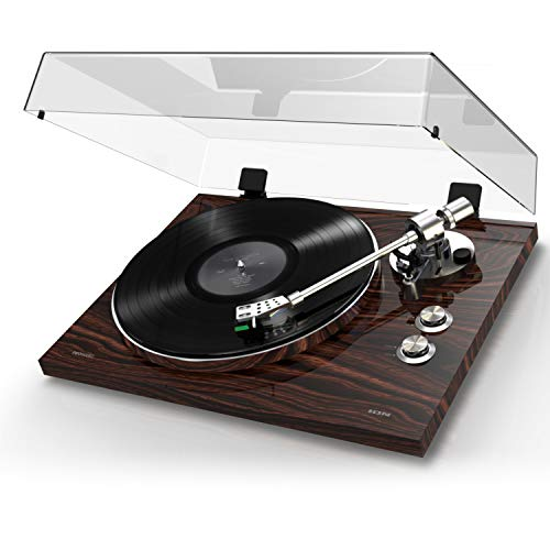 ION Audio PRO500BT - Platine Vinyle Bluetooth à Entraînement par Courroie à 2 Vitesses (33, 45 Tours) avec Préampli Phono Commutable et Conversion USB - Finition de Luxe en Bois de Noyer