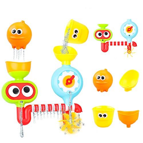 ECOLOG Baby Badespielzeug, Baby Spritzspielzeug, Spin Sprinkle Wasser mit niedlichem Muster und Form Spinning Gear Eyes Lustige Tasse für Neugeborene Baden, Entwicklung der Sensorie, Erkennungsmuster -